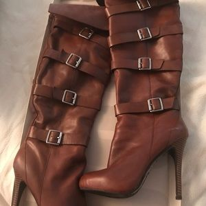 bg classy castagno oily calf over the knee boots